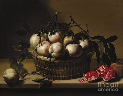Still Life With A Basket Print by Louyse Moillon