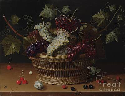 Still Life With A Basket Of Grapes Print by Isaac Soreau