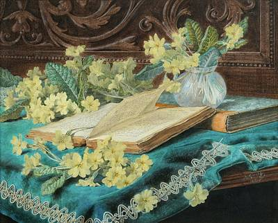 Still Life With A Book And Flowers Print by Marga Toppelius