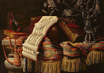 Still Life With A Book Of Sheet Music Print by Francesco Fieravino