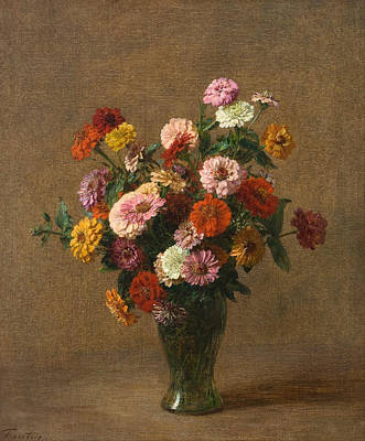Henri Fantin-latour Painting - Still Life With A Carafe Flowers And Fruit by Henri Fantin-Latour