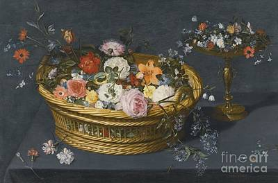 Still Life With A Gilt Tazza And A Basket Filled With Flowers Print by Jan Breughel