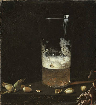 Painting - Still Life With A Glass Of Beer And Nuts by Johann Georg Hainz