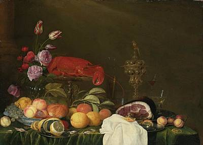 Still Life With A Vase Of Roses And Tulips Print by Andries Benedetti