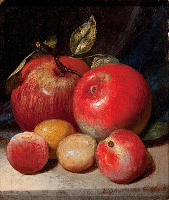 Painting - Still Life With Apples And Plum by Peter Baumgras