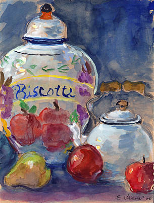 Watercolor Painting - Still Life With Apples And Tea Kettle by Ethel Vrana