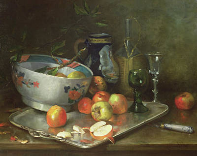 Still Life With Apples Print by Eugene Henri Cauchois