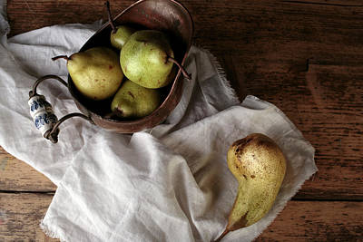Still-life With Arrangement Of Pears  Print by Nailia Schwarz