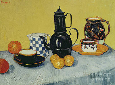 With Blue Painting - Still Life With Blue Enamel Coffeepot, Earthenware And Fruit, 1888 by Vincent Van Gogh