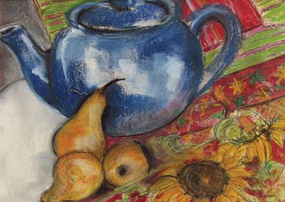 Teapot Painting - Still Life With Blue Teapot One by Susan Adams