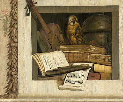 Jacob Van Campen Painting - Still Life With Books Sheet Music Violin Celestial Globe And An Owl by Jacob van Campen