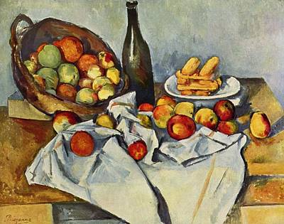 Bread And Cheese Painting - Still Life With Bottle And Apple Basket by Paul Cezanne