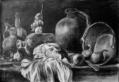 Old Pitcher Drawing - Still Life With Bread by Mikhail Savchenko
