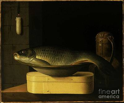 Still Life With Fish Painting - Still Life With Carp  by Nichon