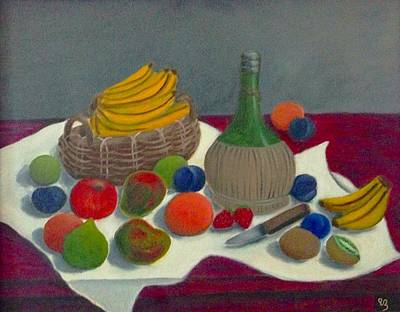 Still Life With Chianti And Fruits Print by Victoria Lakes