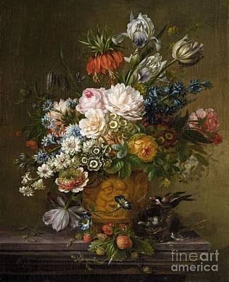 Birds Painting - Still Life With Flowers, A Bird's Nest And Strawberries by Celestial Images