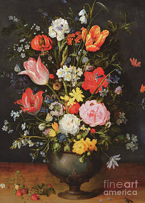 Still Life With Daffodils Painting - Still Life With Flowers And Strawberries by Jan the Younger Brueghel