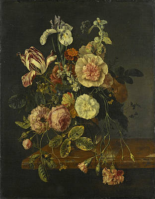 Walscapelle Painting - Still Life With Flowers by Attributed to Jacob van Walscapelle