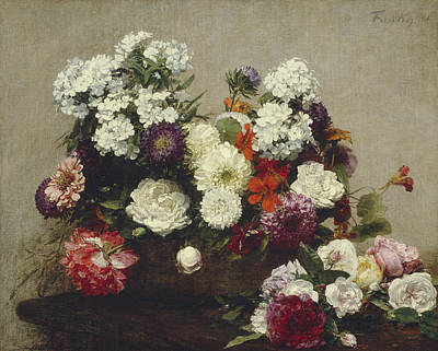 Still Life With Flowers Print by Ignace Fantin-Latour