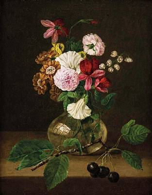 Still Life Painting - Still Life With Flowers In A Glass Vase And Cherry Twig by Franz Xaver