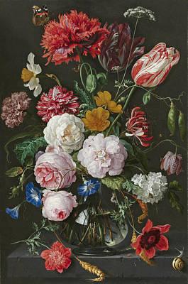 Jan Davidsz De Heem Painting - Still Life With Flowers In A Glass Vase by Jan Davidsz de Heem