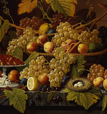 American Food Painting - Still Life With Fruit, 1854 by Severin Roesen