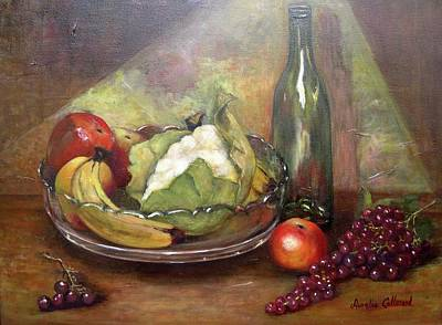 Cauliflower Painting - Still Life With Fruit And Cauliflower by Aurelia Nieves-Callwood
