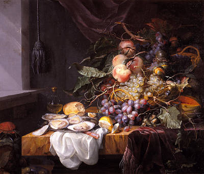Walscapelle Painting - Still Life With Fruit And Oysters by Jacob van Walscapelle