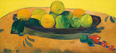 Still Life With Fruit And Peppers Print by Paul Gauguin