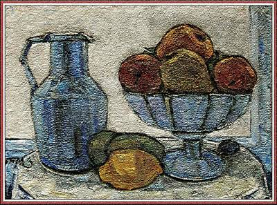Post Impressionism Mixed Media - Still Life With Fruit by Pemaro
