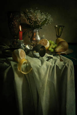 Still Life With Fruits And Flowers Print by Jaroslaw Blaminsky