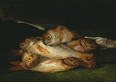 Still Life With Fish Painting - Still Life With Golden Bream by Francisco Goya