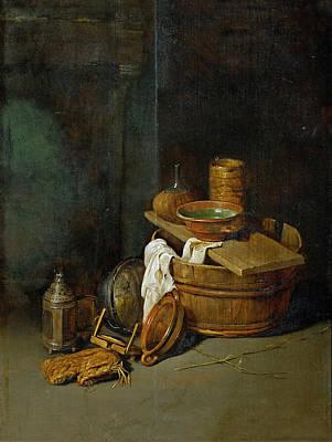 Painting - Still Life With Household Utensils by Robert van den Hoecke