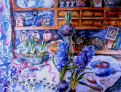 Spring Bulbs Painting - Still Life With Hyacinths  by Trudi Doyle
