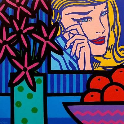 Still Life With Lichtensteins Crying Girl Original by John  Nolan