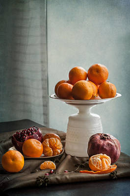 Still Life With Mandarins And Pomegranates Print by Maggie Terlecki