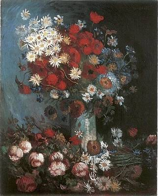 Doubts Digital Art - Still Life With Meadow Flowers And Roses by Van Gogh