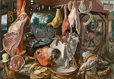 Painting - Still Life With Meat And The Holy Family by Pieter Aertsen