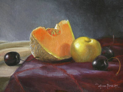 Cantaloupe Painting - Still Life With Melon And Plumcot by Anna Rose Bain