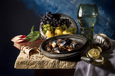 Fruit Photograph - Still Life With Mussels And Fruit by Jon Wild