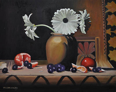 Phil Hopkins Painting - Still Life With Orange by Phil Hopkins