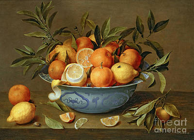 Still Life With Oranges And Lemons In A Wan-li Porcelain Dish  Print by Jacob van Hulsdonck
