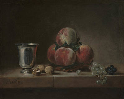 Flowers Painting - Still Life With Peaches A Silver Goblet Grapes And Walnuts by JeanSimeon Chardin