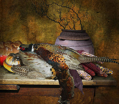 Pheasant Digital Art - Still Life With Pheasants And Corn by Jeff Burgess