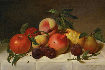 Baumgras Painting - Still Life With Plums Pears Pomegranates And Apples by Peter Baumgras