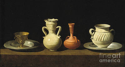 Still Life With Pottery Jars Print by Celestial Images