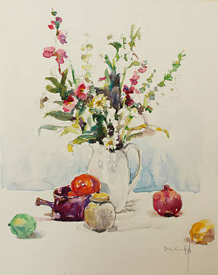 Bsk Painting - Still Life With Pomegranate by Becky Kim