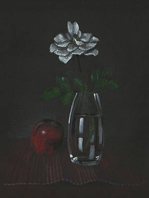 Still Life With Rose And Apple Print by Masha Batkova