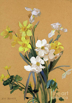 Irises Drawing - Still Life With Spring Flowers by Jean Benner