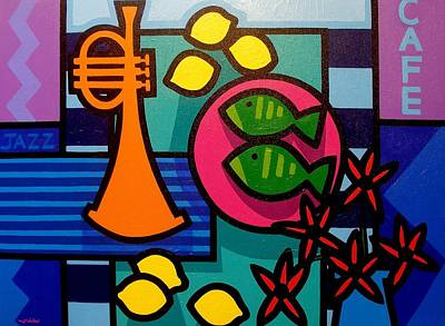 Wine Glasses Painting - Still Life With Trumpet by John  Nolan